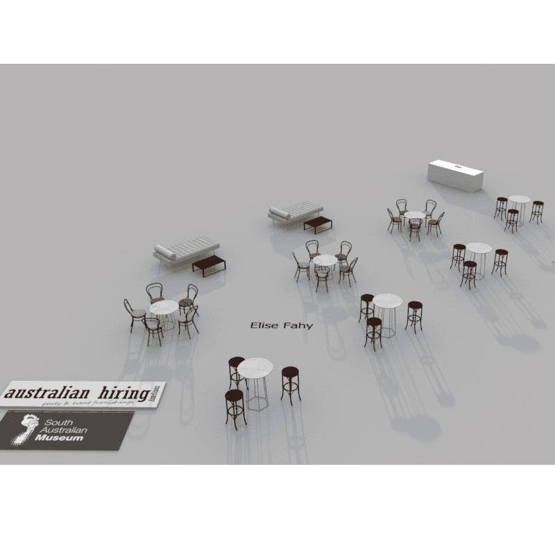 3D design of indoor reception bentwood stools