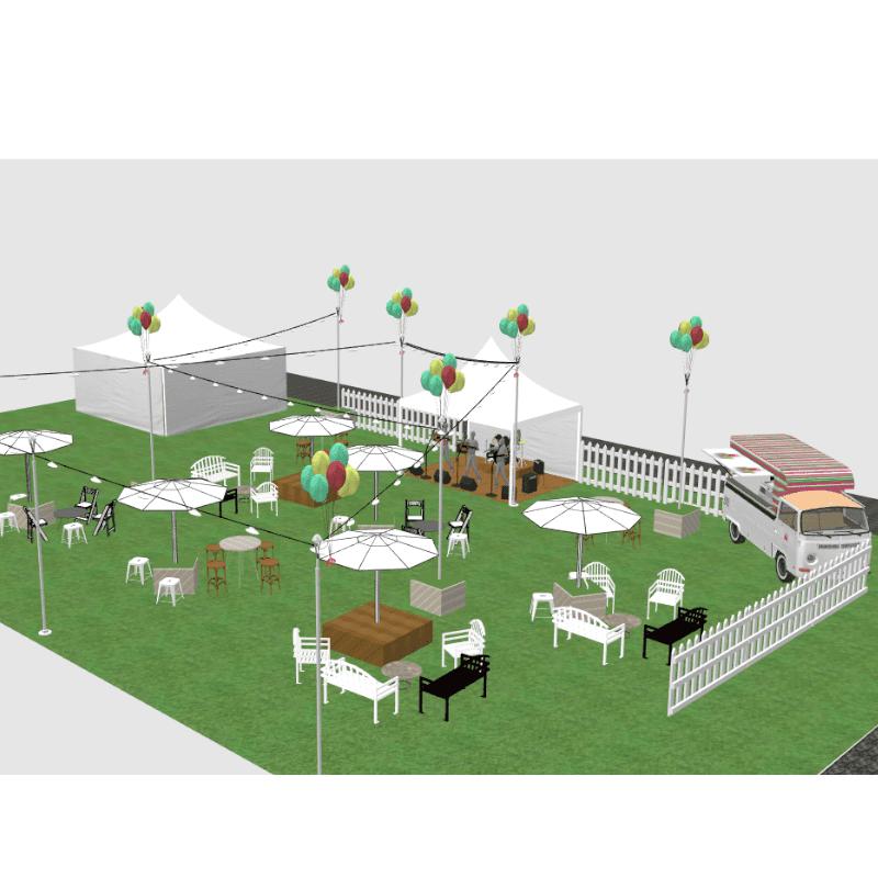 3D design of 50th birthday celebration arrow bench seats wine barrels