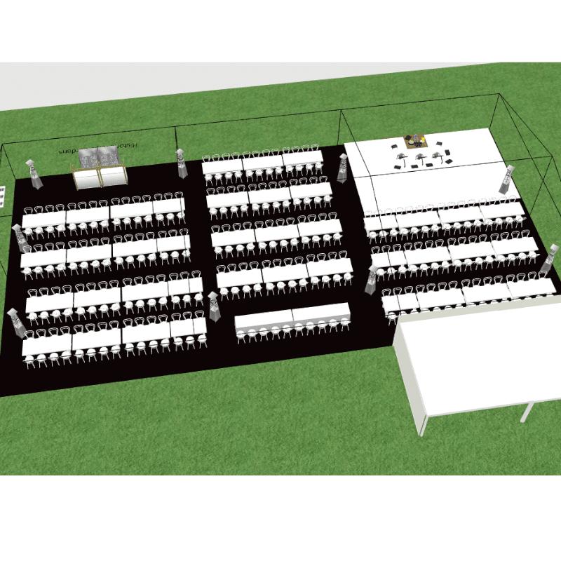 3D design of Historic rose garden clear roof pavilion 200
