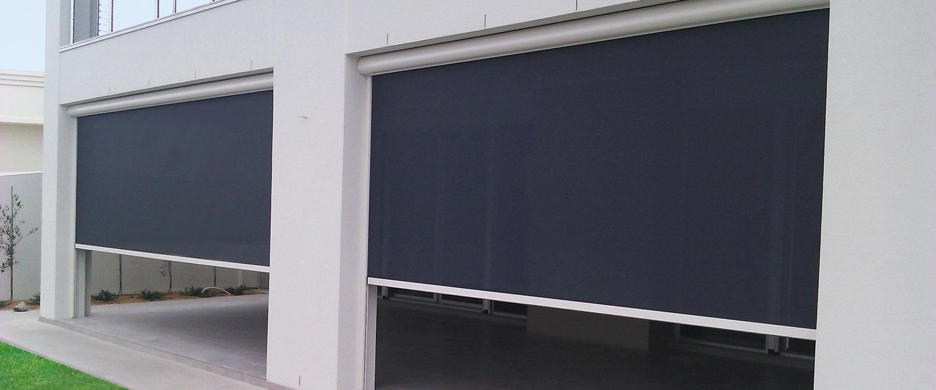 black-blinds-white-wall-ziptrak-blinds-adelaide
