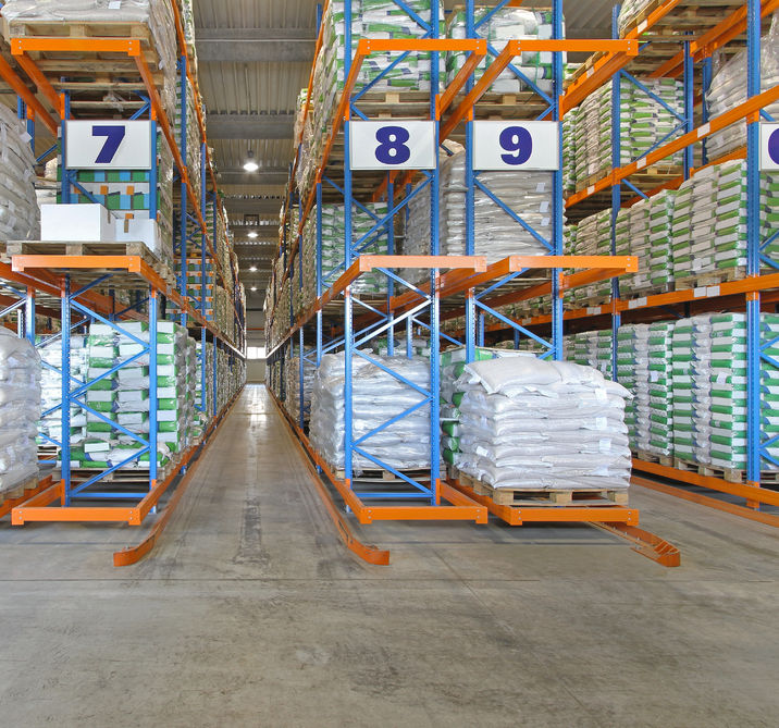 84584774 - shelves with sacks in distribution center warehouse