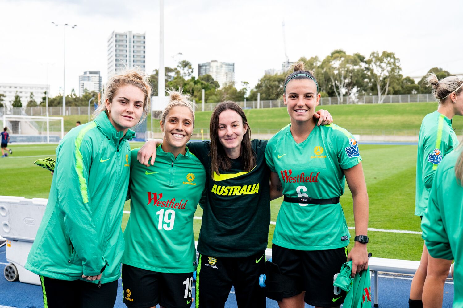 Nicole with the Matildas after her stroke