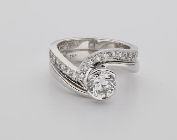 18ct White Gold And Diamond Handmade Ladies Fitted Wedding