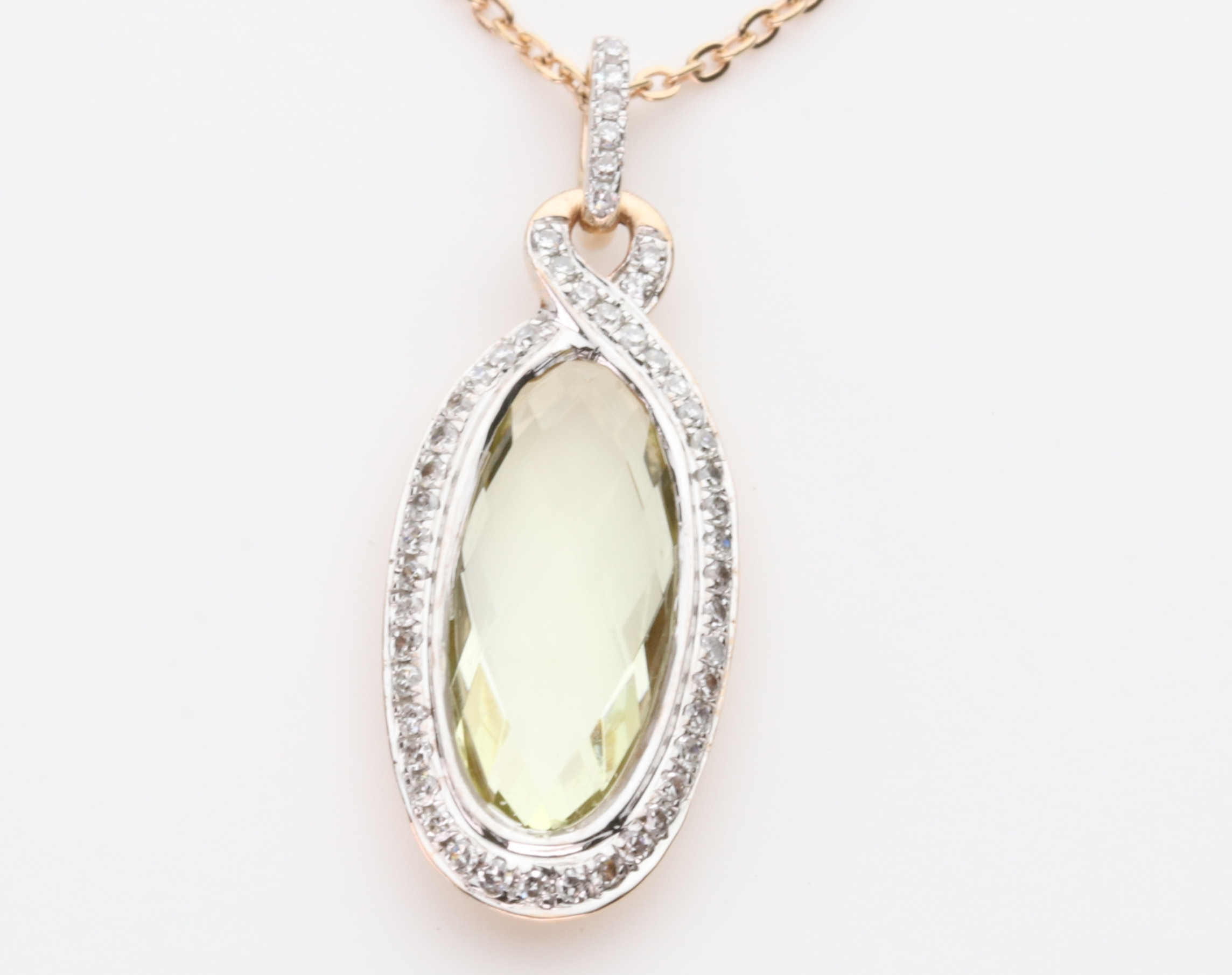 9ct Rose Gold Pendant With Diamonds And Lime Quartz
