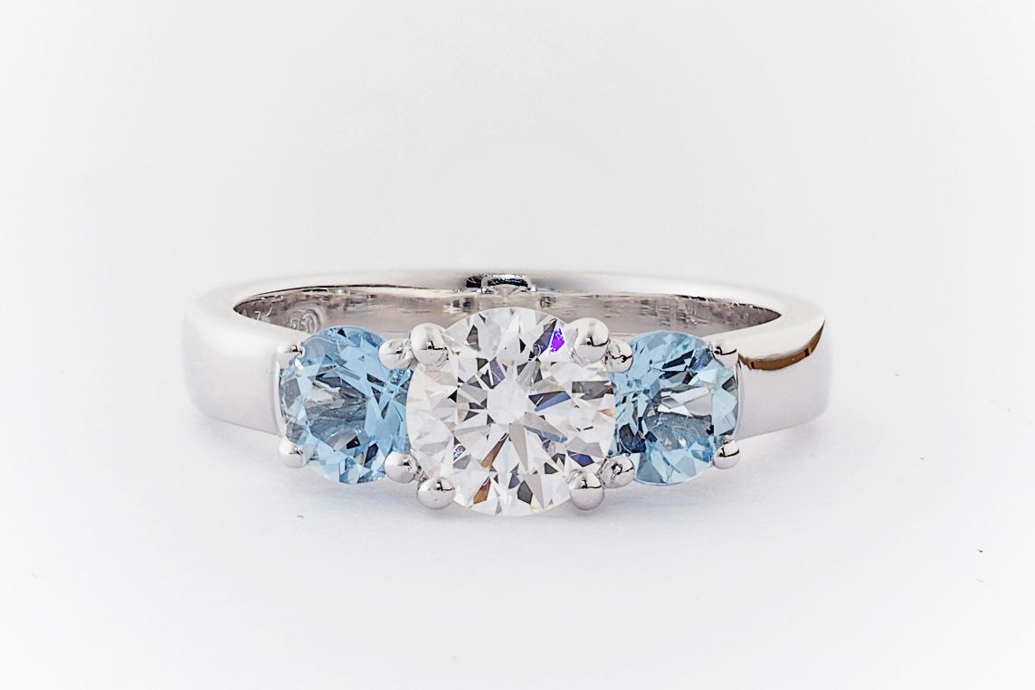 Aquamarine And Diamond Trilogy Engagement Ring