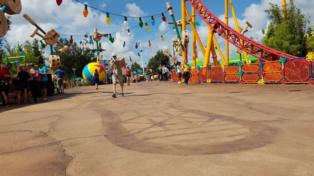 Giant footprint on ground in Toy Story Land