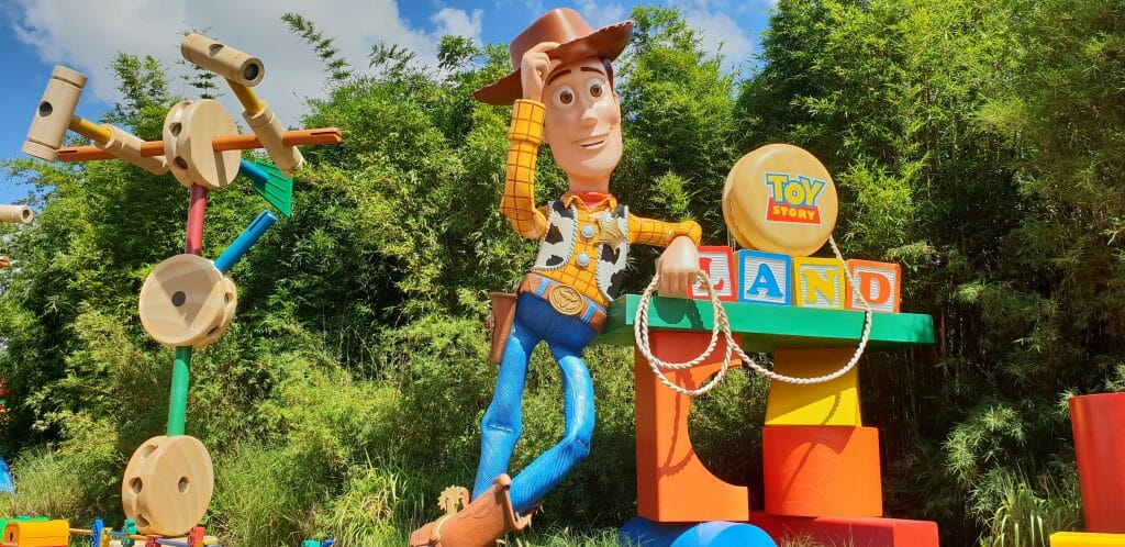 Statue of Woody outside Toy Story Land Disney
