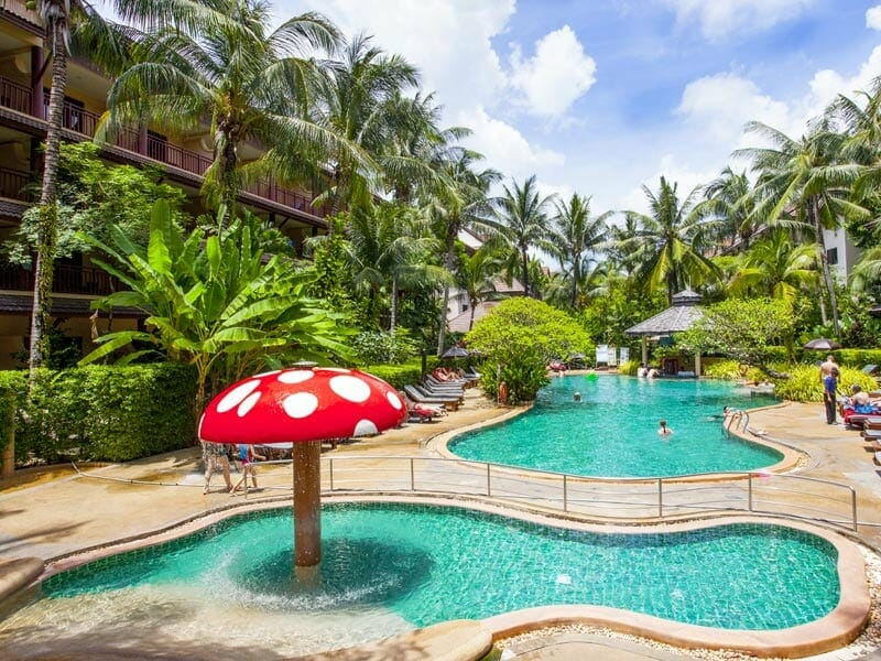 Photo of resort kids pool with red and white mushroom fountain