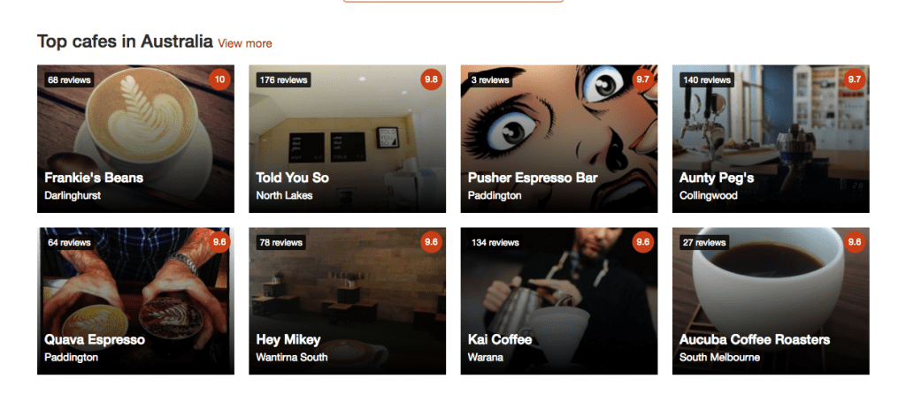 Screen shot of Beanhunter.com.au most popular cafes around Australia