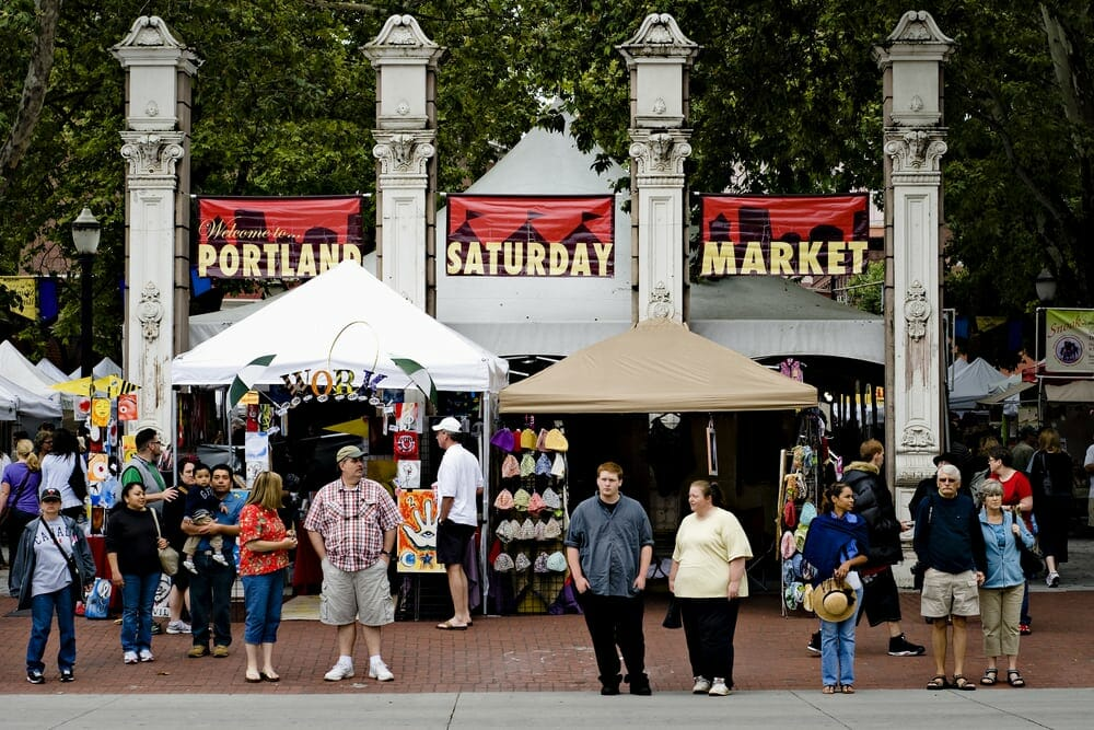 Market tents and crowds at Portland