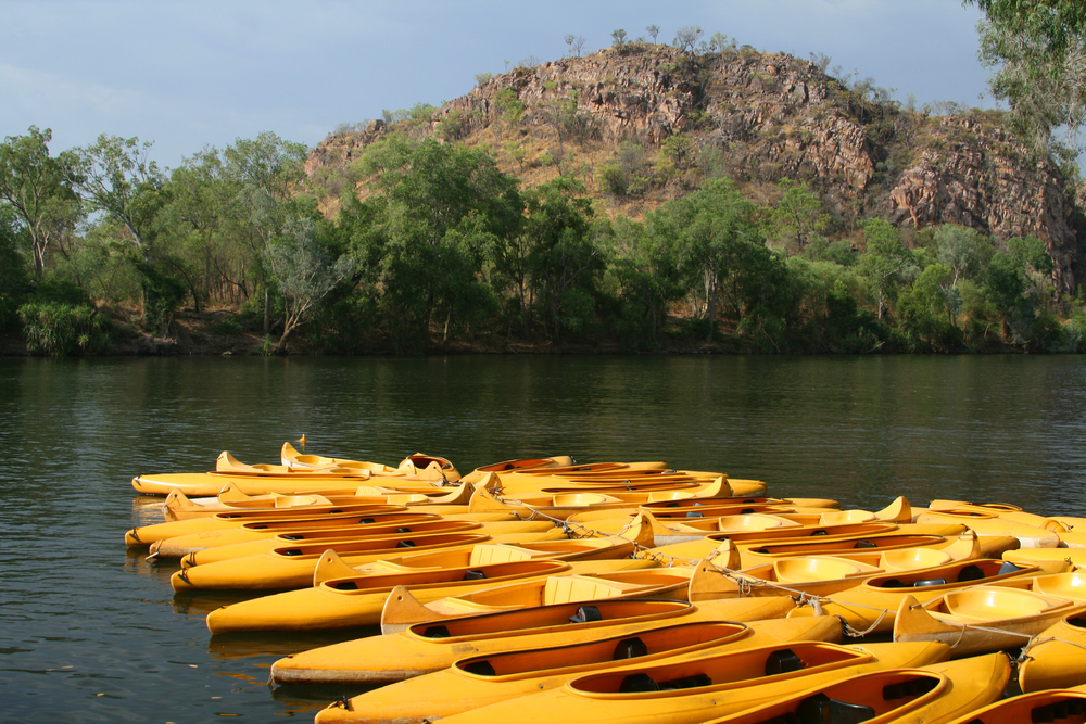 Yellow kayak's at Katherine Gorge, Australia
