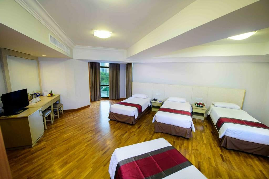 The quadruple room at Fort Canning Lodge Singapore.
