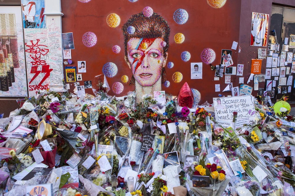 A piece of graffiti of David Bowie as Ziggy Stardust in Brixton, London