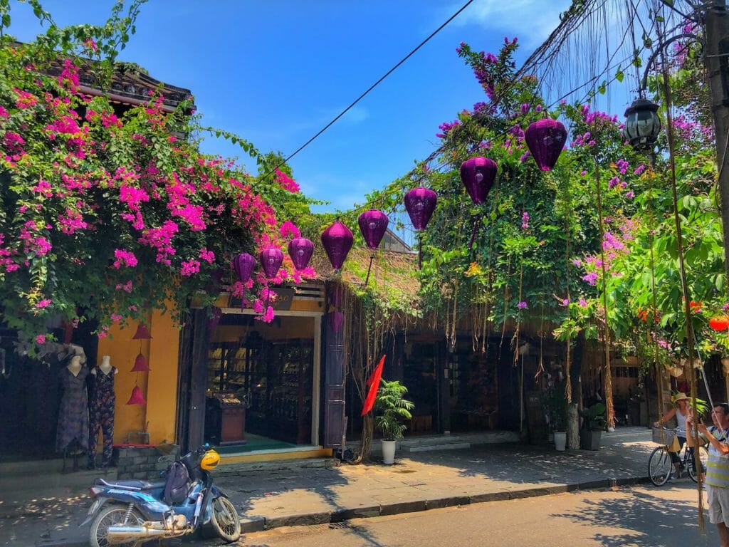 Purple lanterns in street of Hoi An, Vietnam