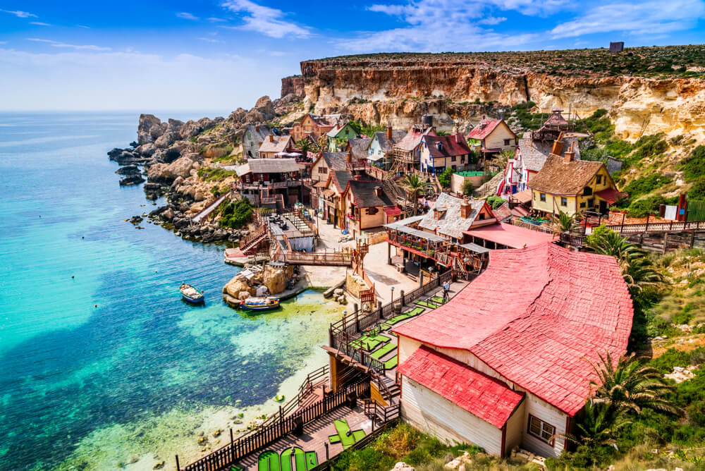 Sea and villages in Malta