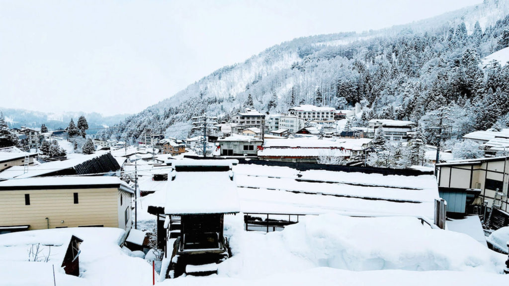Snow on rooftops at Nozawa Onsen, Japan