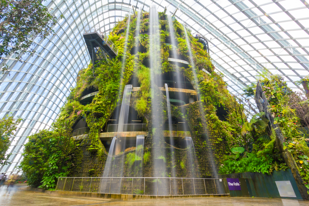 Indoor waterfall in the Cloud Forest at Gardens by the Bay.