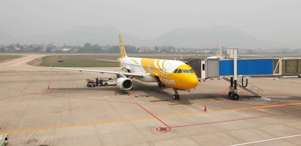 Scoot Airlines in Luang Prabang Laos.