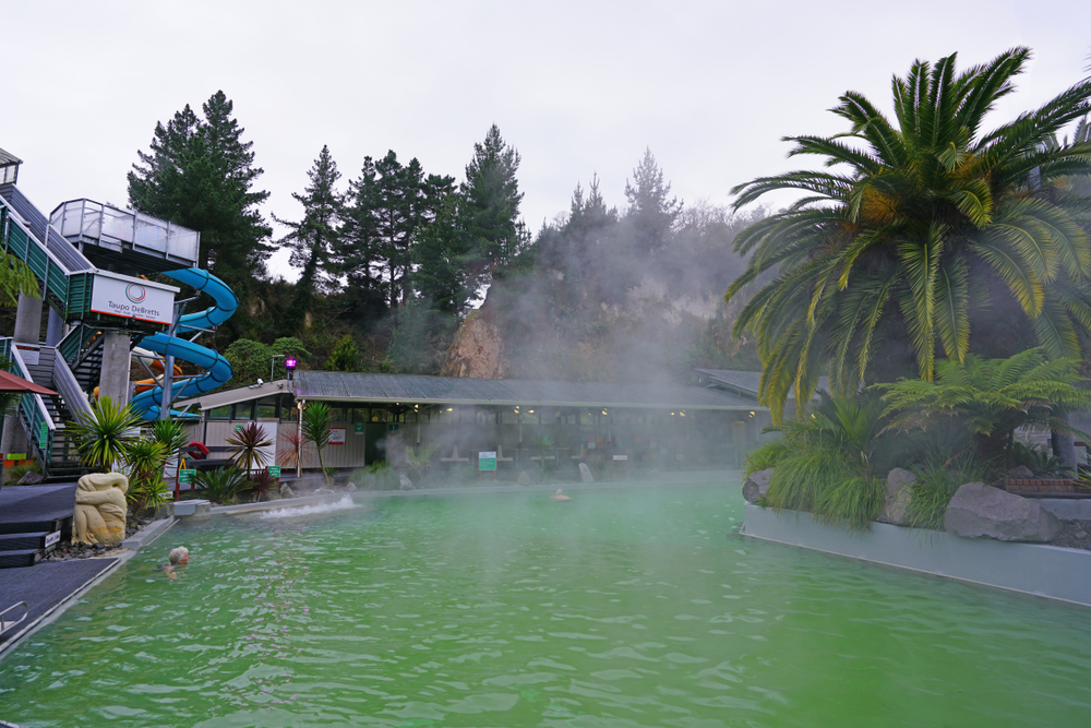Taupo DeBretts Hot Springs, Pools and Water Park located in the geothermal volcanic area of Lake Taupo in the North Island, New Zealand
