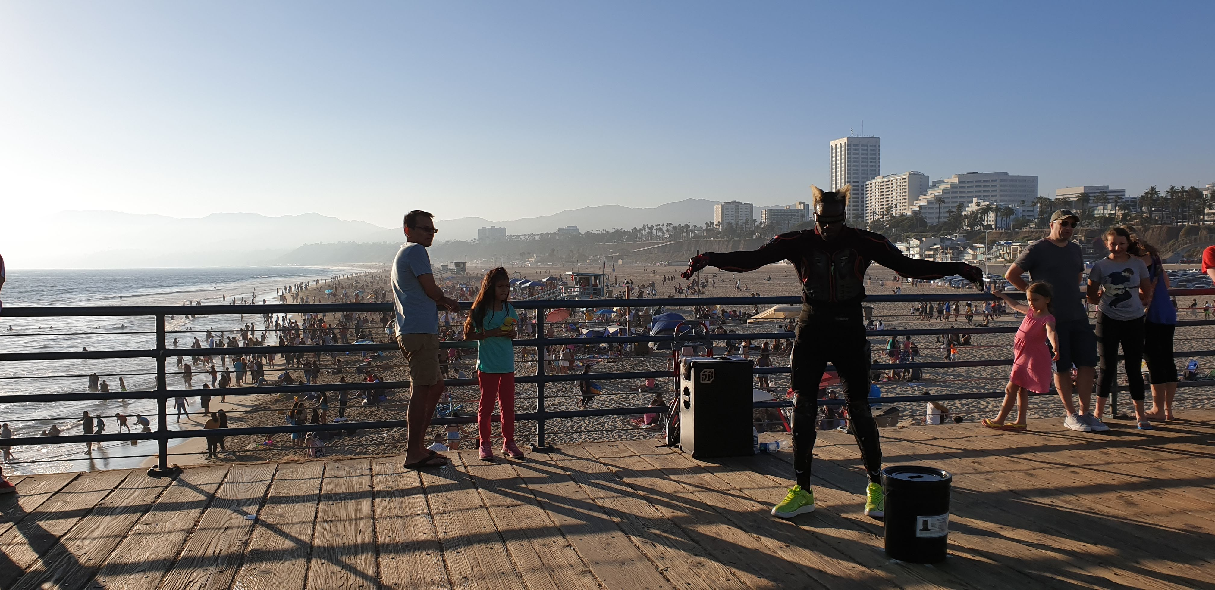 Buskers dance on Santa Monica Pier
