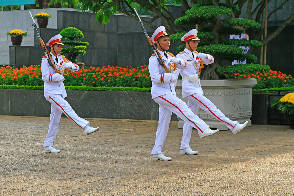 Changing of the guard and parade in Ho Chi Minh Mausoleum, Hanoi, Vietnam.