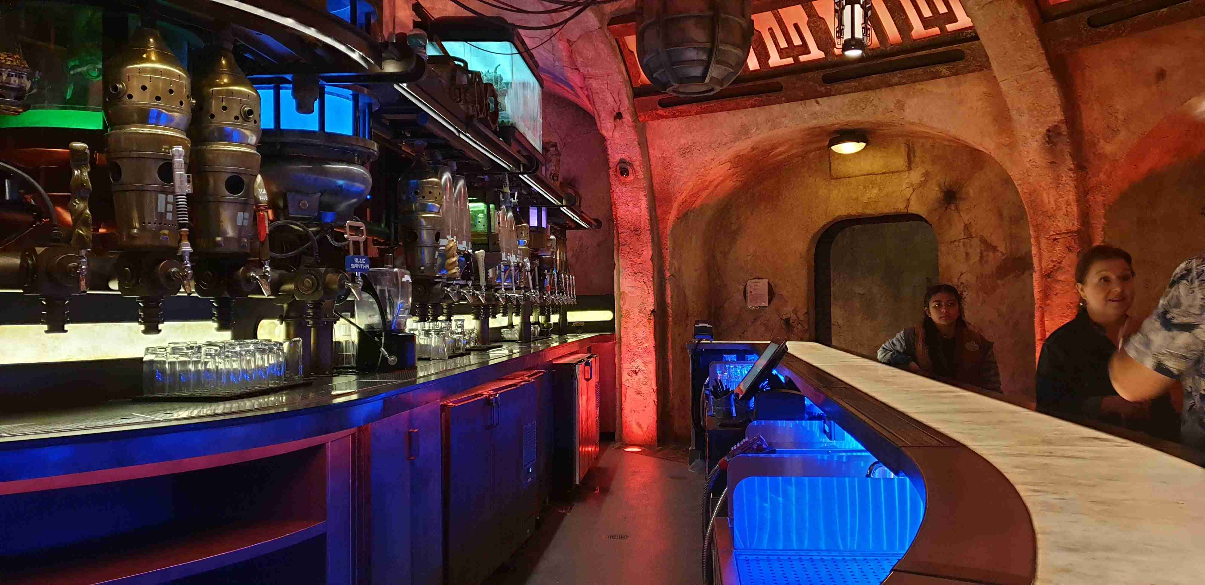 Inside Oga's Cantina at Star Wars: Galaxy's Edge Disneyland Park California