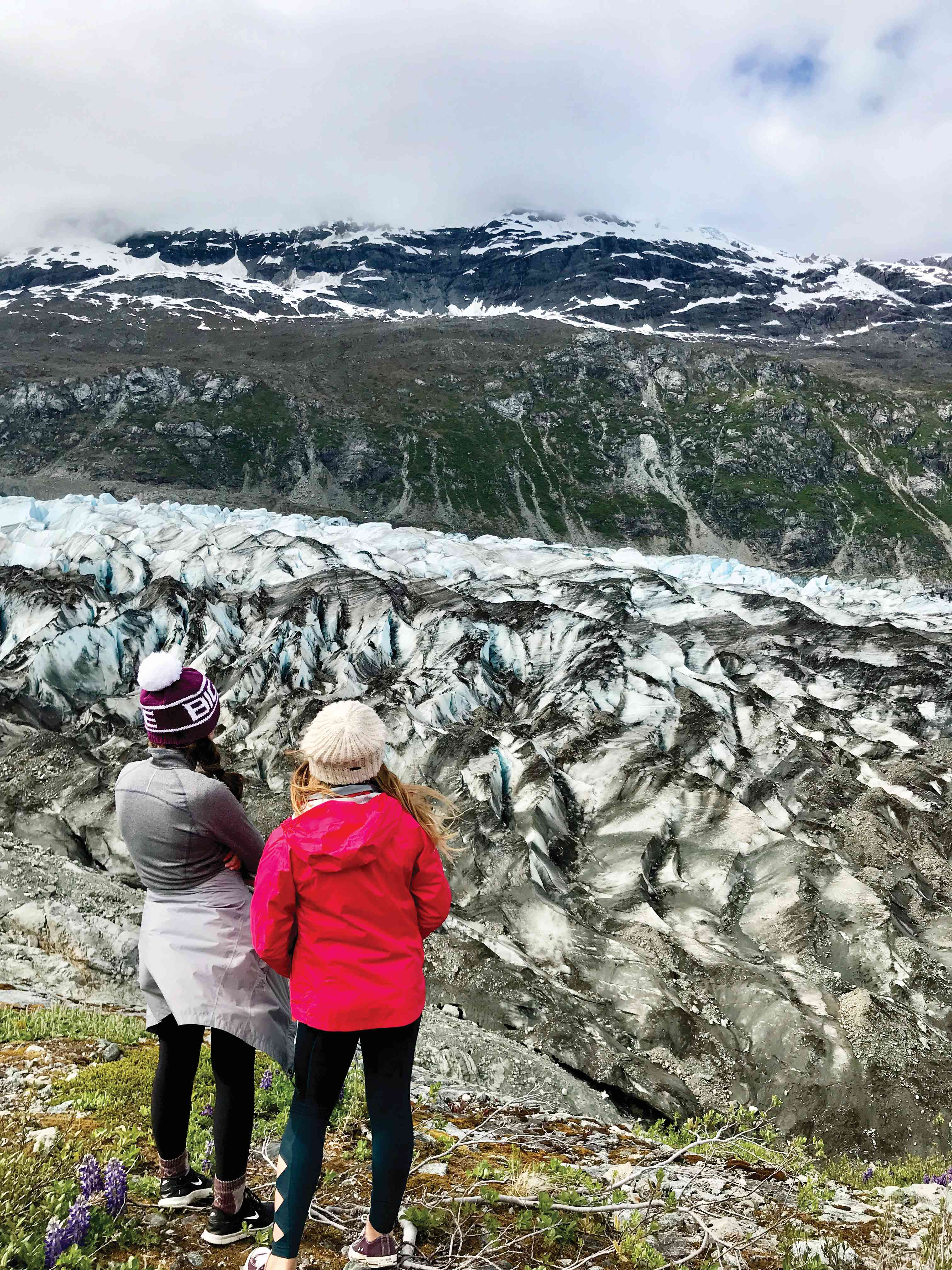 Madeline and Katy overlooking the Lamplugh Glacier Photo Kate Armstrong