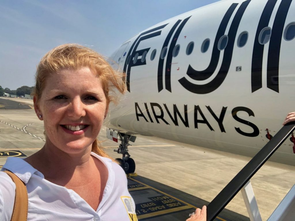 Boarding Fiji Airways new A350-900 at Sydney airport