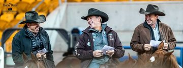 Link Baumann, Todd Graham and Corey Holden share a joke during day 11 of the 2018 SDP Buffalo Ranch NCHA Futurity