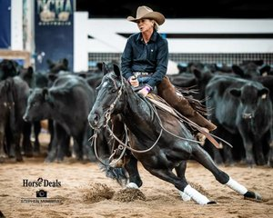 NCHA Sponsor Natascha Wrigley on board 'Cherry Drive' in the Non Pro Derby second go round