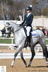 Jess Somerfield from NSW is pictured aboard her eye catching Royal Hit gelding, Lakeview Albion' during the dressage phase of the 90 strong Off The Track CCI 1 Star competition.