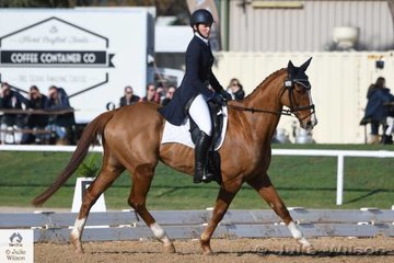 Victorian rider, Rebecca Barling is pictured aboard her  Kings Best Thoroughbred, 'On Your Mark' during the dressage phase of the Horseware Australia CCI 2 Star dressage phase.