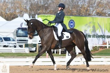 Successful NSW rider, Katie Taliana is pictured aboard her well performed and imported British Sporthorse, 'Trevalgar II' by Fleetwater Opposition during the dressage phase of the Pryde's Easifeeds CCI 3 Star.