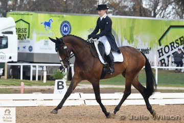 Despite her youth, ,Madeline Wilson from Queensland is an experienced campaigner. She is pictured aboard her, 'I'm Bruce' by Fisherman's Friend that holds eighth  place with 33.60 after their Pryde's Easifeeds CCI 3 Star dressage phase.