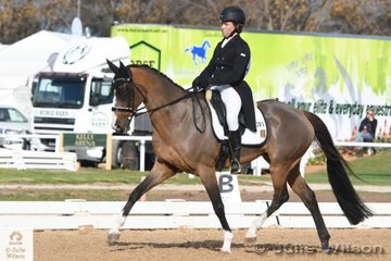 Victorian rider, Callum Buczak is pictured aboard his Hanoverian gelding , 'Matavia Cheval' by Champion FP during the dressage phase of the Pryde's Easifeeds CCI 3 Star today.