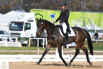 Well travelled and experienced rider and trainer, Murray Lamperd is pictured aboard Phillipa Hodson's Thoroughbred, 'Toronto' by Keep The Faith during the Pryde's Easifeeds CCI 3 Star dressage phase.