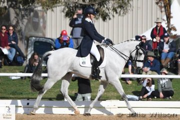 Successful South Australian rider, Jamie Stichel is pictured aboard her, 'Image Blue Ice' by Kirby Park Irish Jordan during the dressage phase of the  Pryde's Easifeeds CCI 3 Star.