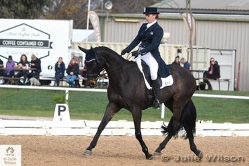 Laura Wallace is pictured aboard her successful Thoroughbred, 'Van Heck' by Desert Fox during the dressage phase of the  Pryde's Easifeeds CCI 3 Star.