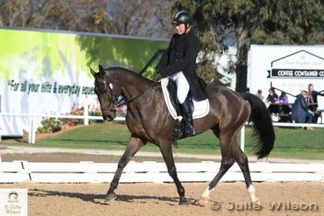 Michael Dagostino from WA is pictured aboard his Gymnastik Star gelding, 'Kinnordy Gatow' during the dressage phase of the  Pryde's Easifeeds CCI 3 Star.