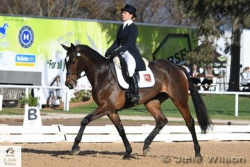 Successful NSW eventing rider and owner, Jade Findlay holds fourth place after the  Pryde's Easifeeds CCI 3 Star dressage phase with a score of 32.20 riding her, 'Oaks Cordelia' by Premier des Hayettes.