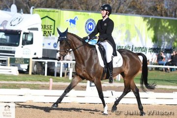 Jessica Woods from New Zealand  holds the lead in the  Pryde's Easifeeds CCI 3 Star after her dressage phase score of 28.50 riding 'Just De Manza' by Just De Pomme.