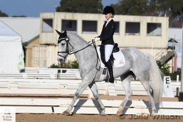 Talented young Victorian rider, Sophie Bennett holds second place with 33.70 after the Off The Track CCI1J dressage phase riding her, 'Branigans Irish Connection' by Branigans Pride.