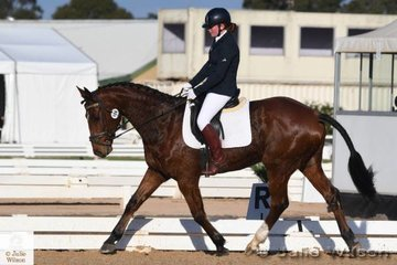 Jasmine Dillon from Victoria is pictured  aboard her, 'Vinchenzo' during the dressage phase of the Off The Track CCI1J.