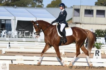 Zoe Hutchinson from NSW holds the lead after the dressage phase of the Off The Track CCi 1J with a score of 33,60 riding her Voltaire II gelding, 'Valinco'.