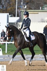 Jessica West representing Great Britain is pictured aboard Jo West's Irish Sport Horse, 'Mister Higgins' during the dressage phase of the Horseware CCI 2 Star.