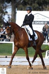 Madison Simpson from Queensland holds eleventh place  with 32.10 after the Horseware Australian CCI 2 Star dressage phase riding her New Zealand bred, 'LV Elf' by   Elkintot.