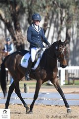 Sophia Landy is pictured riding her Irish bred mare, 'Golden Geisha' by ESB Golden Knight during the dressage phase of the Off The Track CCI 1 Star..