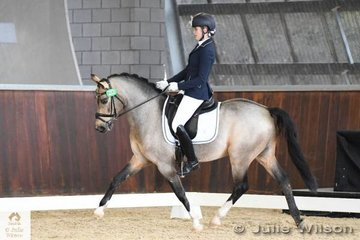 Jasmine Haynes rode the impressive import, 'Steendieks Champ of Glory' to  take third place in the FEI CDI -Pony Freestyle with 65.083%