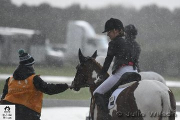 Not good weather for riding or gear checking. With snow in the Dandenongs, hardy dressage riders braved the cold and wet conditions at the aptly named Boneo Winter CDI. The Boneo Winter CDI attracted good entries from as far as Queensland but scratchings were high today.