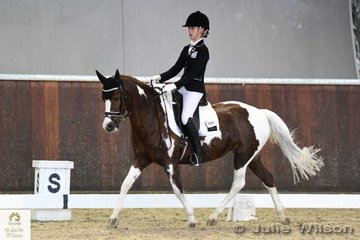 Sophie Taylor rode, 'Raven Lodge Aura' to  fourth place in the FEI CDI-Pony Freestyle with 65.000%.